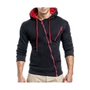 Zippered Long Sleeve Slim Leisure Ribbed Hoodie