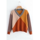 Color Block V Neck Long Sleeve Sweater