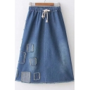 Chic Applique Drawstring Waist Midi A-Line Denim Skirt
