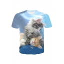 3D Cats Printed Round Neck Short Sleeve Tee