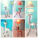 1 Head Unicorn Standing Light Kids Room Bedside White/Gray/Pink Fabric Shade Floor Lamp