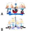 Kids Room Pirate Ship Chandelier Light Fabric 4/5 Lights Ceiling Chandelier in Blue