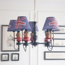 Coolie Shade Chandelier with Bear Cities&Countries Fabric 5 Lights Suspension Light in Black