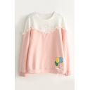 Color Block Balloon Heart Pattern Long Sleeve Leisure Pullover Sweatshirt