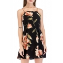 Floral Printed Spaghetti Straps Sleeveless Mini A-Line Dress
