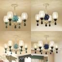 Crackled Glass Cup Ceiling Chandelier Bedroom 4/6 Lights Hanging Light in Sky Blue/Navy Blue