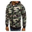Zip Up Camouflage Printed Long Sleeve Leisure Hoodie