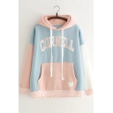 Color Block CORNELL Letter Embroidered Long Sleeve Leisure Hoodie