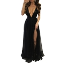 Sequined Plunge Neck Crisscross Hollow Out Back Mesh Patchwork Maxi Cami Party Dress