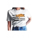 Sleeping Cat Sheet Printed Round Neck Short Sleeve Tee