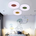 Acrylic Flushmount with Round Shade Macaron Colorful Ceiling Light for Kids in Warm/White