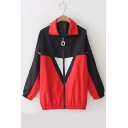 Zip Up Long Sleeve Color Block Lapel Collar Loose Coat