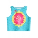 Digital Dinosaur Fossil Printed Round Neck Sleeveless Crop Tank