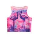 Painting Flamingo Printed Round Neck Sleeveless Crop Tank