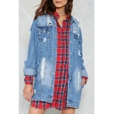 Cut Out Detail Lapel Collar Long Sleeve Button Down Tunic Denim Jacket