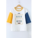 ROOM FOR RENT Letter Embroidered Color Block Round Neck Short Sleeve Tee