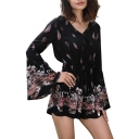 V Neck Long Sleeve Leaf Printed Loose Romper