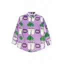 Chic Drink Teeth Striped Printed Lapel Collar Long Sleeve Button Down Shirt