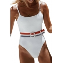 Striped Belt Spaghetti Straps Sleeveless One Piece Swimwear