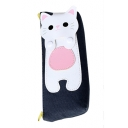 Cat Pattern Panel Zippered Pencil Case
