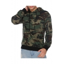 Zip Pocket Long Sleeve Camouflage Printed Loose Leisure Hoodie