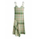 Plaid Printed Spaghetti Straps Sleeveless Maxi Asymmetric Dress