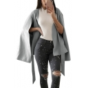 Plain V Neck Tie Waist Loose Trendy Cape Coat