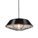 Metal Caged Polished Black Finish Restaurant Hanging Fixture 10.2