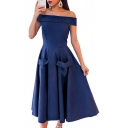 Off The Shoulder Short Sleeve Plain Zipper Back Maxi A-Line Dress