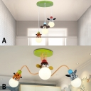 Zebra/Monkey/Giraffe Design Suspended Lamp Kindergarten Metal 3 Light Pendant Light in Multi Color