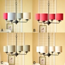 4 Lights Cylinder Shade Chandelier Simplicity Fabric Suspended Lamp in Beige/Gray/Red