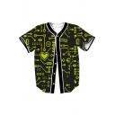 Digital Printed V Neck Short Sleeve Button Down Baseball Tee