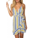 Striped Printed Spaghetti Straps Sleeveless Ruffle Detail Mini Cami Dress