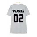 WEASLEY 02 Letter Printed Round Neck Short Sleeve Tee