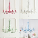 Modern Dining Room Kids Bedroom Chandelier 6 Light Metal Crystal Balls Chandelier Light