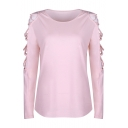 Hollow Out Detail Long Sleeve Plain Round Neck Leisure Tee