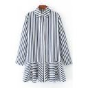 Lapel Collar Long Sleeve Striped Printed Button Down Ruffle Hem Midi A-Line Dress