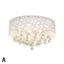 Modern Drum Crystal Flush Mount Crystal Chandelier Light for Bathroom Living Room