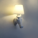Applique Murale Cheval Blanc avec Abat-Jour Coolie Petite Taille