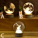 Decorative Romantic Christmas/Globe Night Light 3D 3 Styles for Option