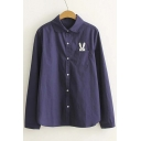 Rabbit Embroidered Lapel Collar Long Sleeve Button Down Shirt