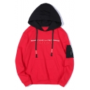 NASA Letter Embroidered Color Block Long Sleeve Loose Hoodie