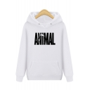 Loose Leisure ANIMAL Letter Printed Long Sleeve Hoodie