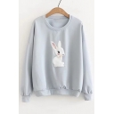 Cute Rabbit Embroidered Round Neck Long Sleeve Pullover Sweatshirt
