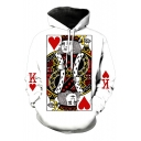 3D Playing Card Printed Long Sleeve Loose Hoodie
