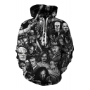 Trendy Digital Character Printed Long Sleeve Loose Hoodie