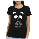 EMO Letter Bear Printed Round Neck Short Sleeve Tee