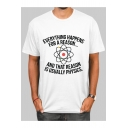 EVERYTHING HAPPENS FOR A REASON Letter Graphic Printed Round Neck Short Sleeve Tee