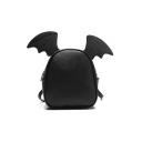 Wing Ears Embellished Plain Backpack PU Bag