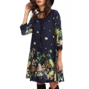 Half Sleeve Floral Printed Round Neck Midi A-Line Dress